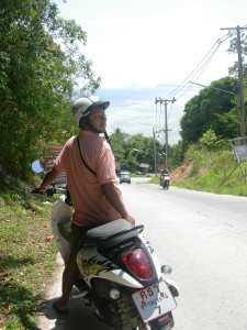 Me riding a rented scooter at Koh Phangan in Thailand