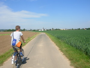 A friend of mine rides a bicycle in the German countryside