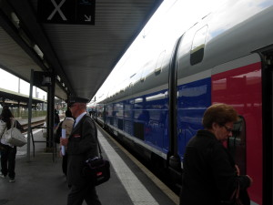 A high-speed train that runs between Paris and a small station on the border of France and Spain.