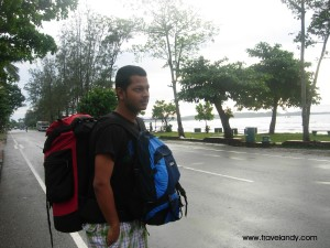 Me with my bags in Sri Lanka