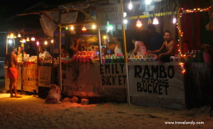 "Alcohol ""buckets"" on sale at the Full Moon Party"