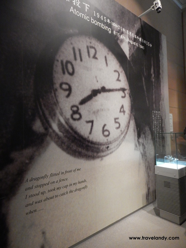 At the Hiroshima Peace Memorial Museum. Hiroshima was bombed on August 6, 1945 and 8.15am