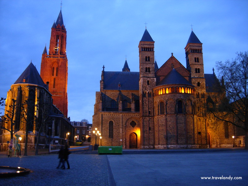 The main square in front of Saint Servatius Basilica in the evening