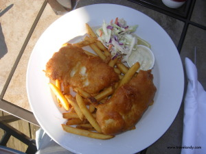 Fish and chips at the cafe/pub by the harbour