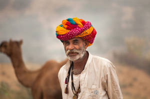 A Rajasthani man sports a colourful turban. Picture by Ankita Hazra
