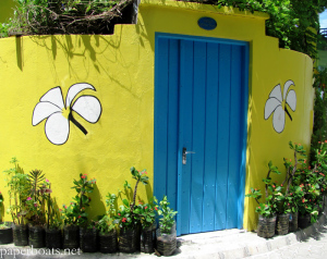 Facade of a Maldivian house on Vilingili island