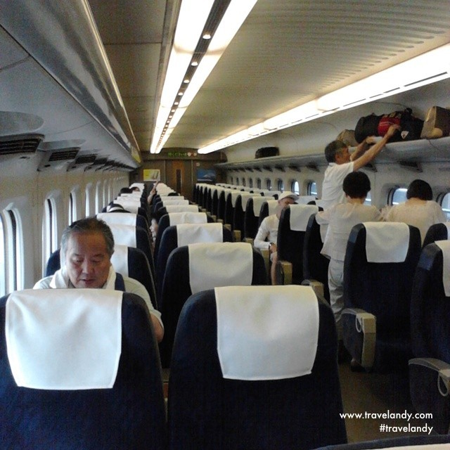 Inside the Shinkansen Nozomi Superexpress- not so much different from an airplane! This was on my day trip to Kobe