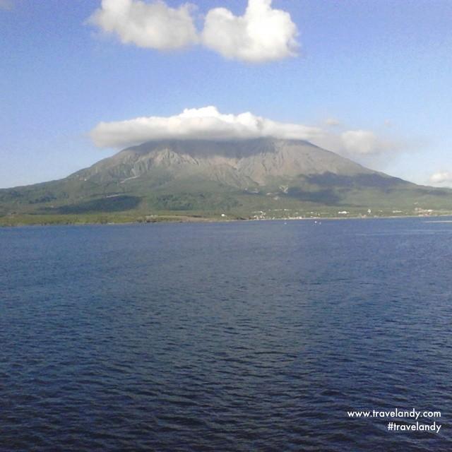 Sakurajima volcano from my ship deck on the way to Yoron