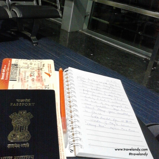 The first entry in my Japan journal at the Kolkata airport.