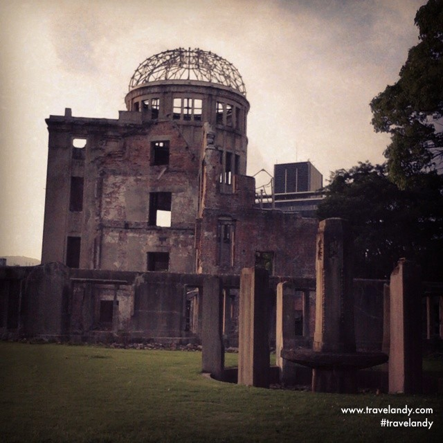 Grim reminder: Atomic Bomb Dome in Hiroshima. The bomb exploded very close to it.
