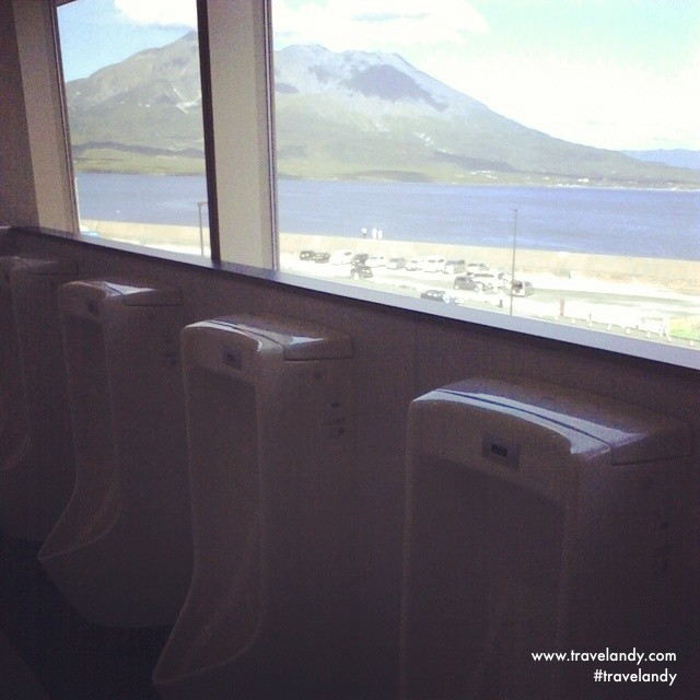 Nice view while you pee from the Kagoshima new port