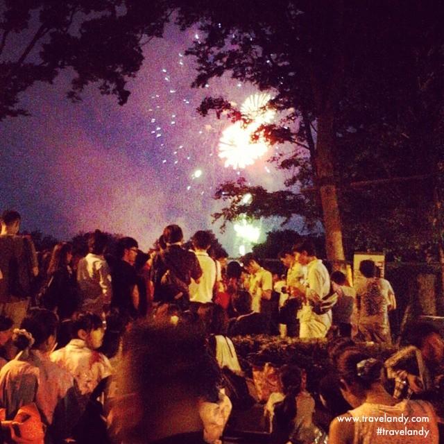 Fireworks at a summer festival at Asaka near Tokyo