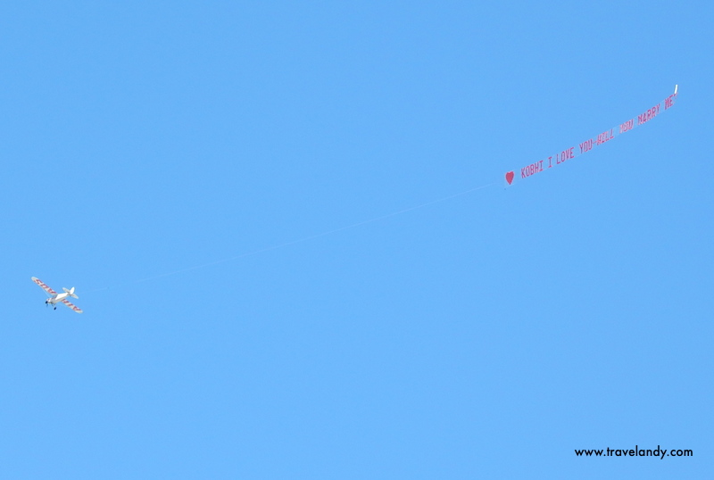 Over Mosman beach on Valentine's Day