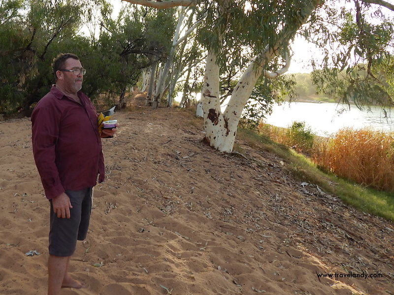Mic shows us the river near his house in Carnarvon