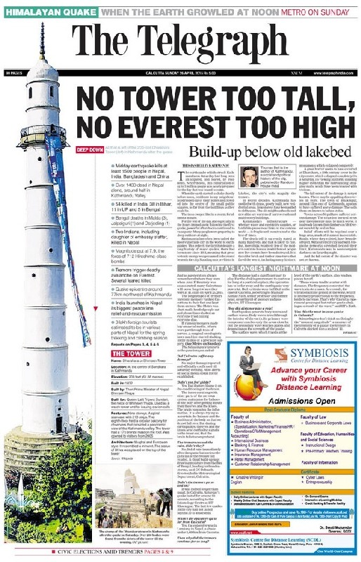The Telegraph, Calcutta edition, April 26, 2015