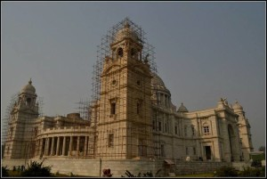 Renovation on at Victoria Memorial. Picture by Swagata Basu