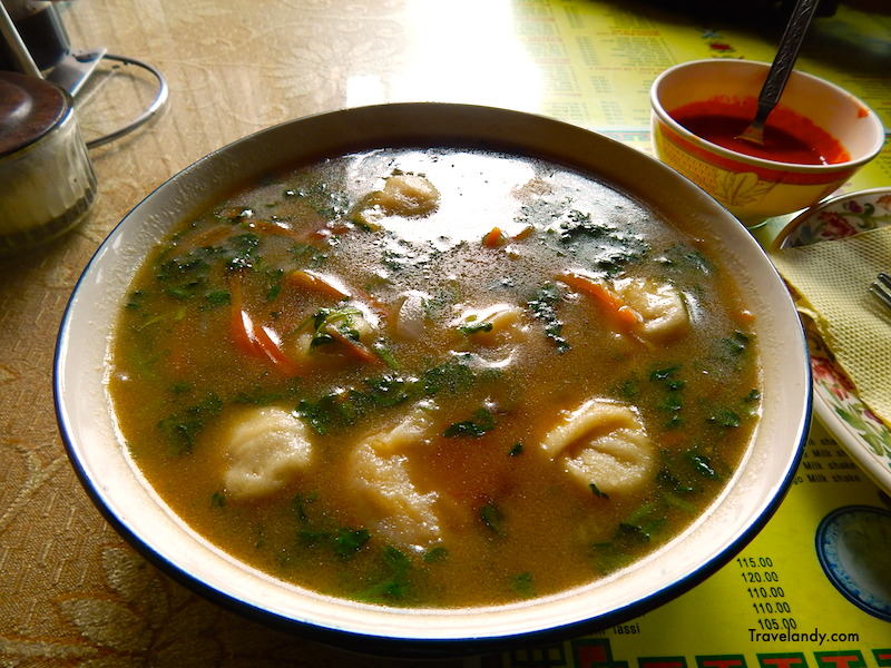 Dumplings in soup at Kunga restaurant