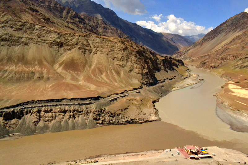 Zanskar is the dark water on the left. The river with the lighter water is Indus. Picture by Swagata Basu