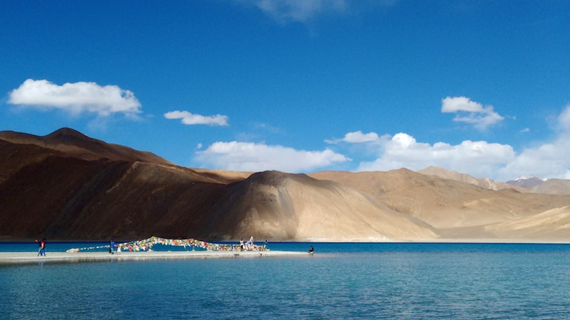 Pangong under a mostly blue sky. Picture by Swagata Basu