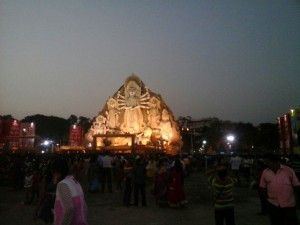 The huge Durga idol at Deshpriya Park in Kolkata. Picture by Soumajit Saha
