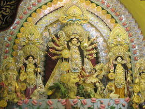 A traditional idol of Durga and her four children