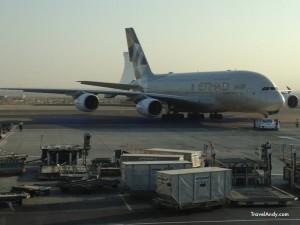 An Etihad A380 at Abu Dhabi International Airport