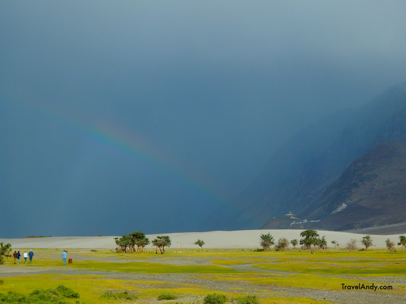 Rainbow seen from Hunder desert. You can also see the Diskit monastery