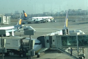 Jet Airways aircraft at the Mumbai airport