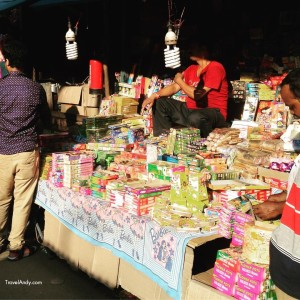Temporary shops such as this one are set up to sell firecrackers ahead of Diwali in India