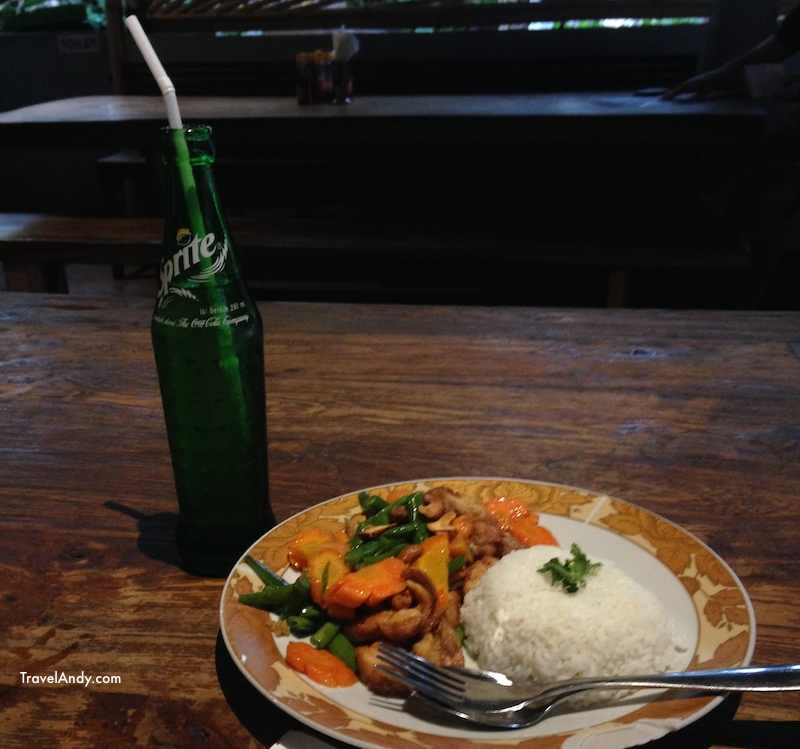 A meal like this one at a warung costs anywhere between IDR27,000-IDR45,000 depending on the place