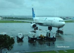 A Garuda Indonesia aircraft at the airport in Denpasar, Bali