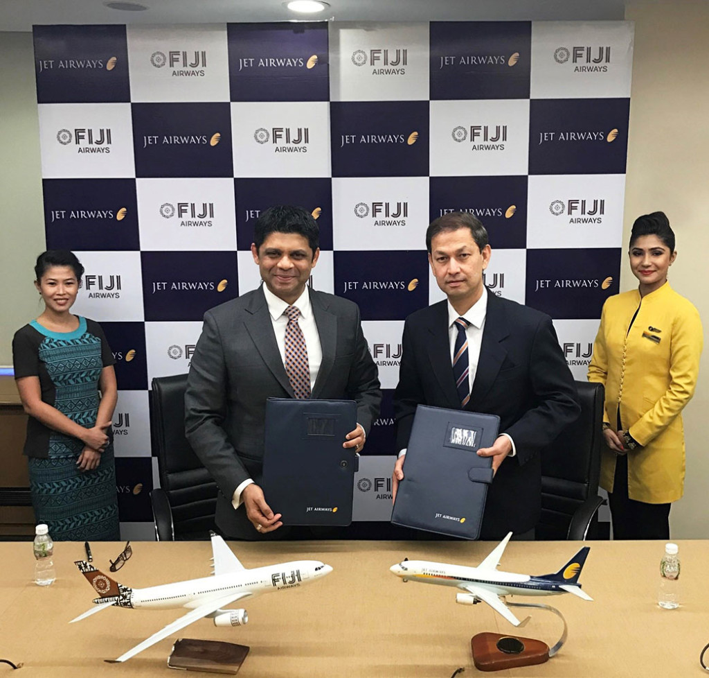 (Second from Left) Fiji minister in charge of civil aviation Aiyaz Sayed-Khaiyum with Colin Neubronner, senior vice-president, sales & marketing, Jet Airways, at the codeshare signing ceremony, in Mumbai