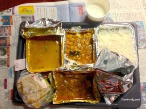 A standard vegetarian meal available on trains in India