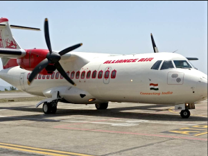 The Alliance Air aircraft at the Shimla airport on Wednesday. A special flight was organised for India's civil aviation minister and other officials a day ahead of the official inauguration of the flight. Picture: twitter.com/airindiain