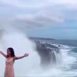 Tourist nearly swept away by giant wave near Bali